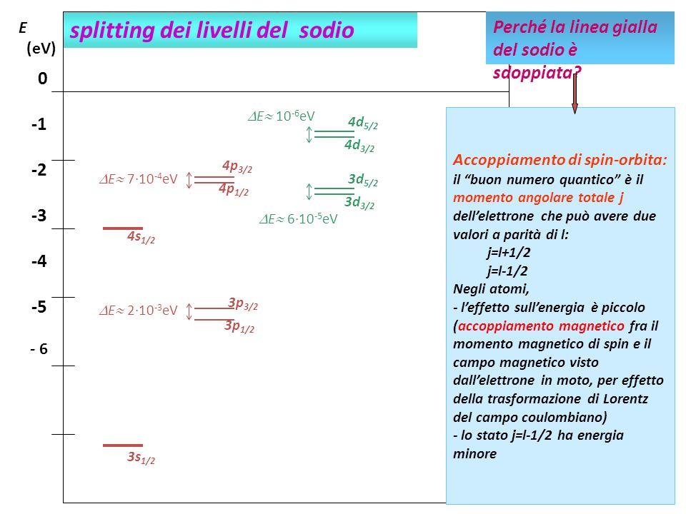 splitting dei livelli del sodio E (eV) 0 -2 -3 -4 -5 - 6 Perché la linea gialla del sodio è sdoppiata? Accoppiamento di spin-orbita: il buon numero qu