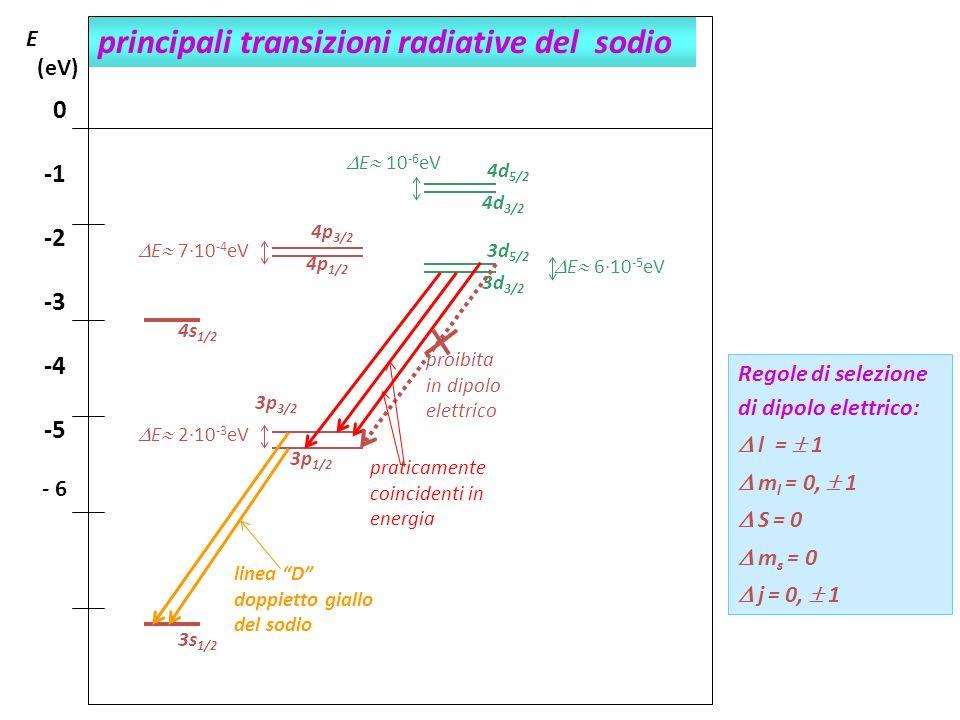 principali transizioni radiative del sodio E (eV) 0 -2 -3 -4 -5 - 6 Regole di selezione di dipolo elettrico: l = 1 m l = 0, 1 S = 0 m s = 0 j = 0, 1 E