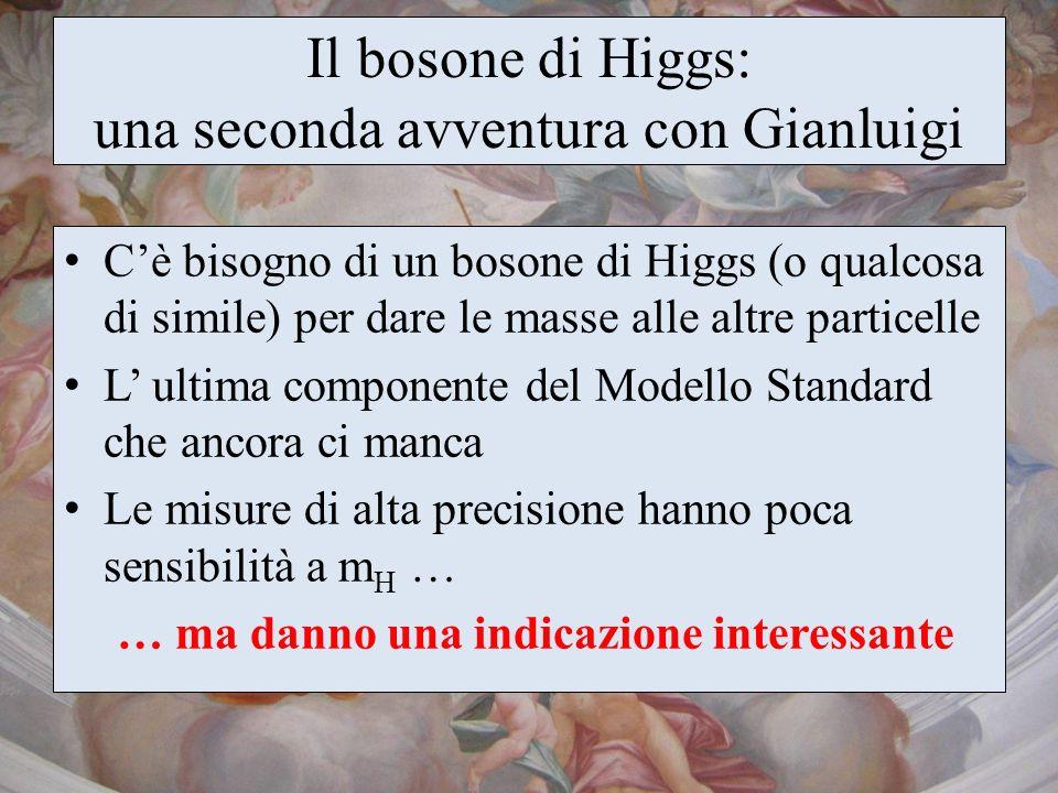 Il bosone di Higgs: una seconda avventura con Gianluigi Cè bisogno di un bosone di Higgs (o qualcosa di simile) per dare le masse alle altre particell