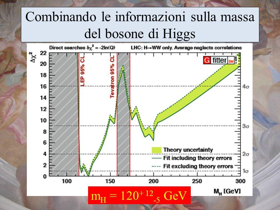Combinando le informazioni sulla massa del bosone di Higgs m H = 120 + 12 -5 GeV