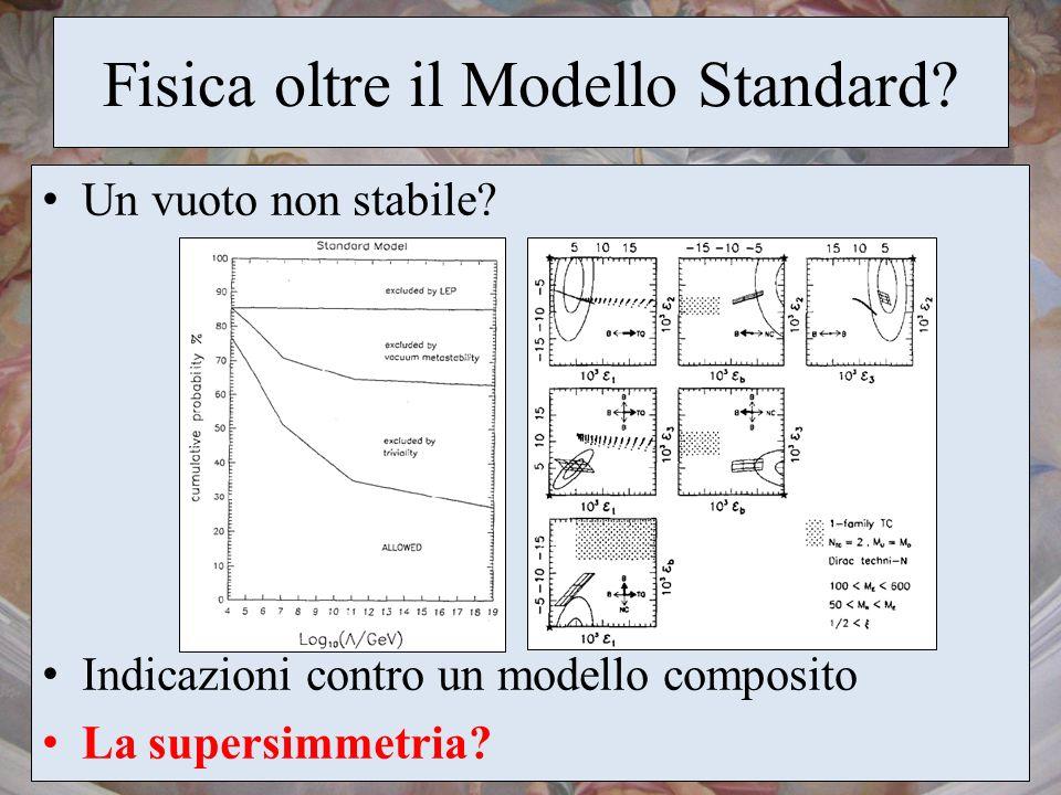 Un vuoto non stabile? Indicazioni contro un modello composito La supersimmetria? Fisica oltre il Modello Standard?
