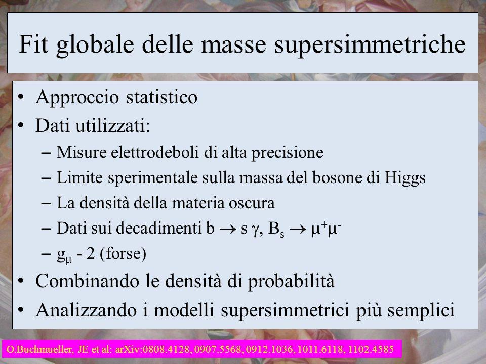 Fit globale delle masse supersimmetriche Approccio statistico Dati utilizzati: – Misure elettrodeboli di alta precisione – Limite sperimentale sulla m