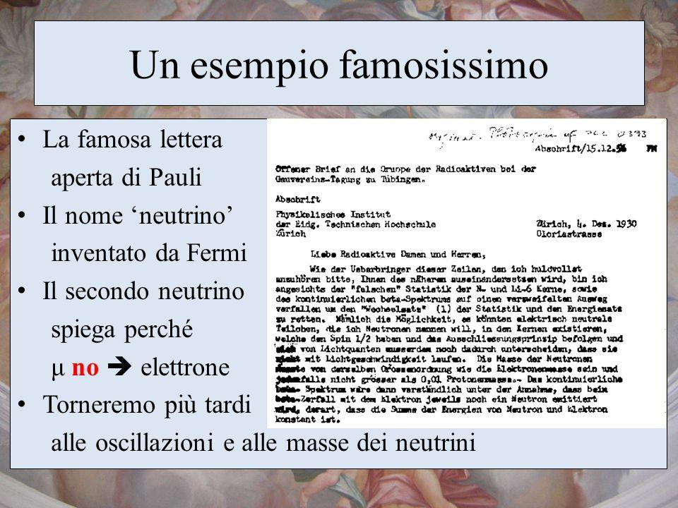 Un esempio famosissimo La famosa lettera aperta di Pauli Il nome neutrino inventato da Fermi Il secondo neutrino spiega perché μ no elettrone Tornerem