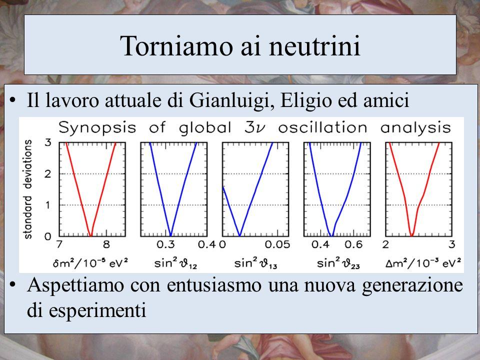 Torniamo ai neutrini Il lavoro attuale di Gianluigi, Eligio ed amici Aspettiamo con entusiasmo una nuova generazione di esperimenti