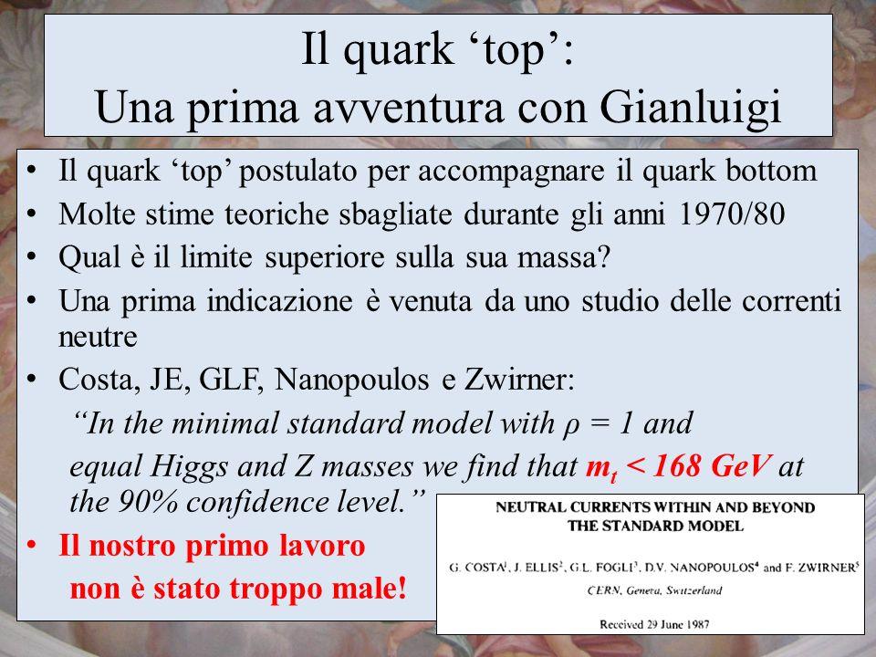 Il quark top: Una prima avventura con Gianluigi Il quark top postulato per accompagnare il quark bottom Molte stime teoriche sbagliate durante gli ann