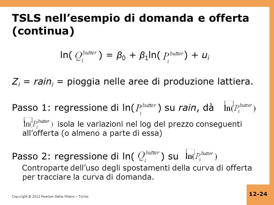 Copyright © 2012 Pearson Italia, Milano – Torino 12-24 TSLS nellesempio di domanda e offerta (continua) ln( ) = β 0 + β 1 ln( ) + u i Z i = rain i = p