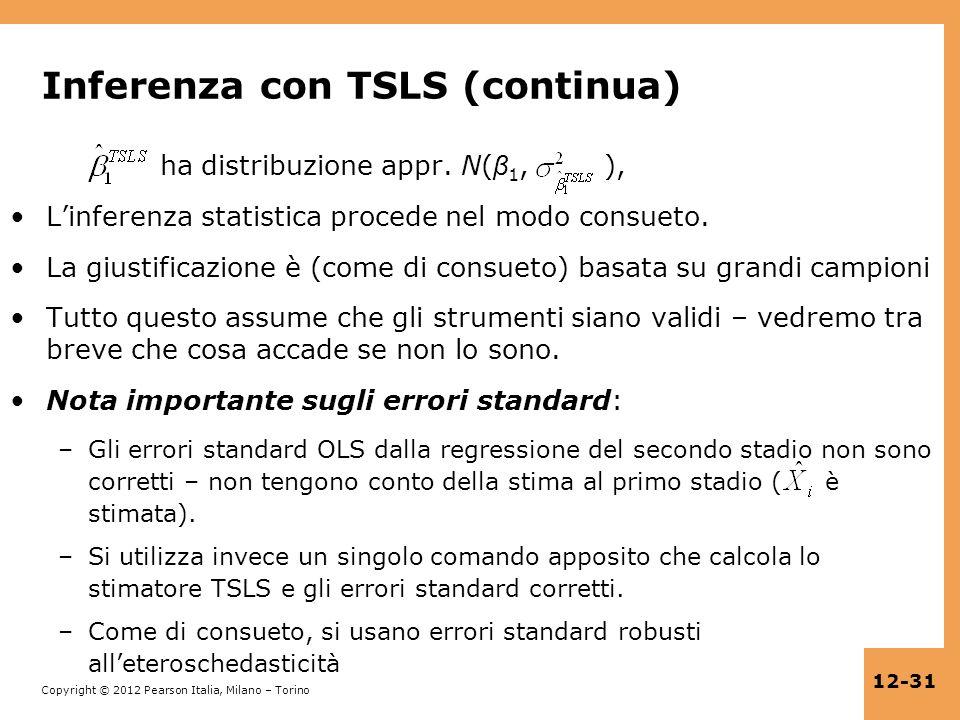 Copyright © 2012 Pearson Italia, Milano – Torino 12-31 Inferenza con TSLS (continua) ha distribuzione appr. N( β 1, ), Linferenza statistica procede n