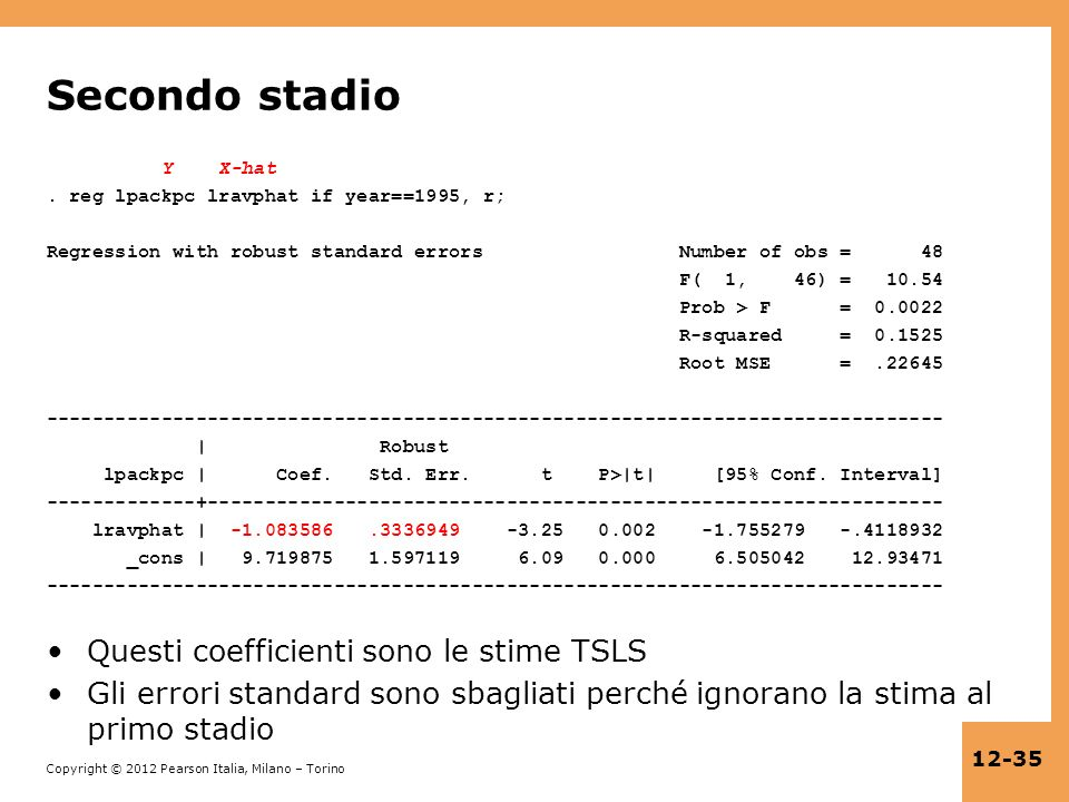 Copyright © 2012 Pearson Italia, Milano – Torino 12-35 Secondo stadio Y X-hat. reg lpackpc lravphat if year==1995, r; Regression with robust standard