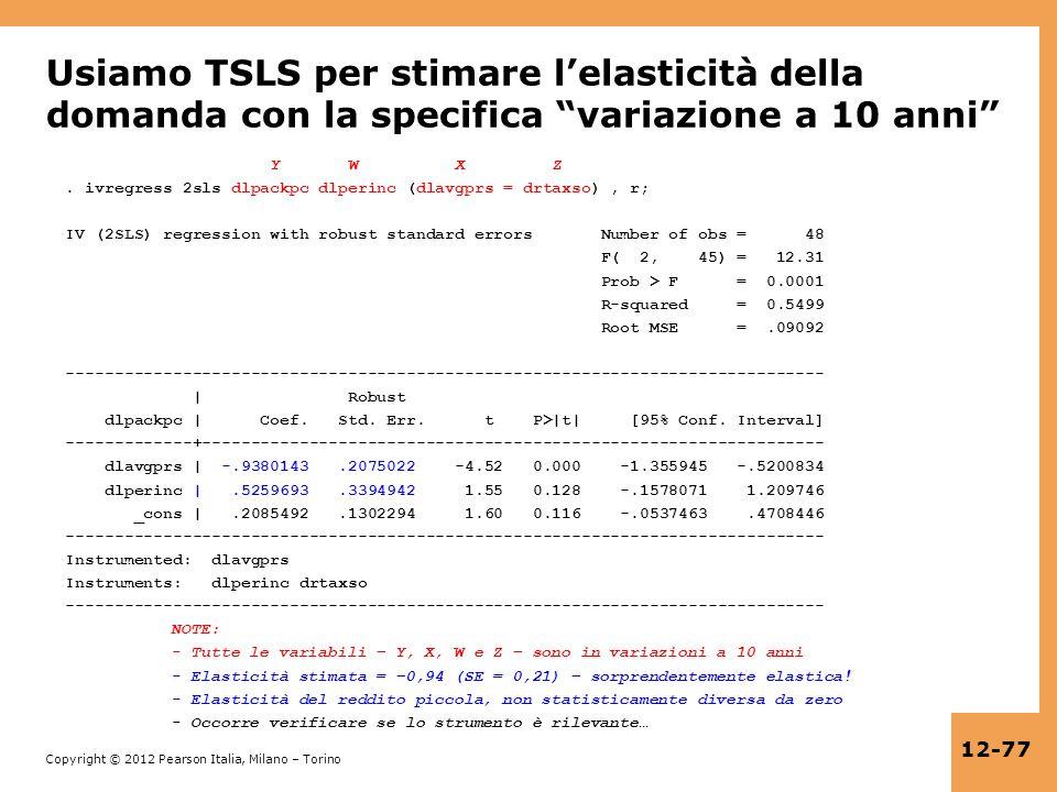 Copyright © 2012 Pearson Italia, Milano – Torino 12-77 Usiamo TSLS per stimare lelasticità della domanda con la specifica variazione a 10 anni Y W X Z