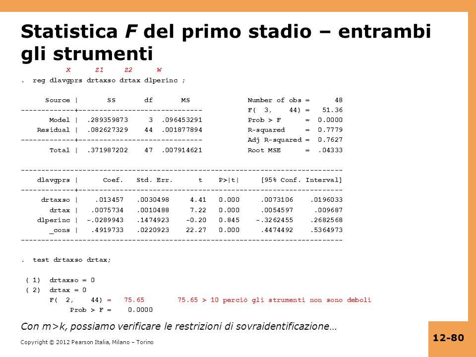 Copyright © 2012 Pearson Italia, Milano – Torino 12-80 Statistica F del primo stadio – entrambi gli strumenti X Z1 Z2 W. reg dlavgprs drtaxso drtax dl