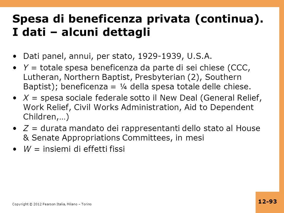 Copyright © 2012 Pearson Italia, Milano – Torino 12-93 Spesa di beneficenza privata (continua). I dati – alcuni dettagli Dati panel, annui, per stato,