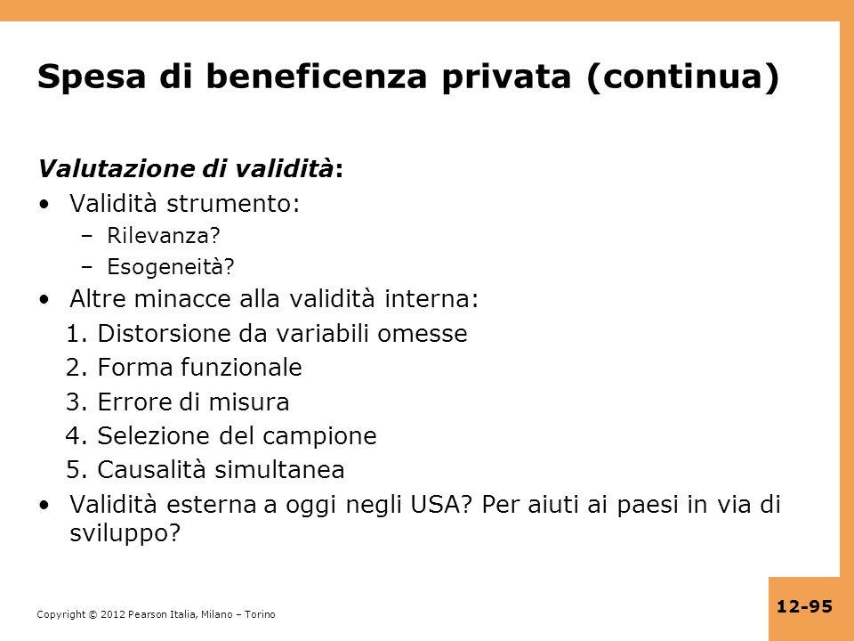 Copyright © 2012 Pearson Italia, Milano – Torino 12-95 Spesa di beneficenza privata (continua) Valutazione di validità: Validità strumento: –Rilevanza
