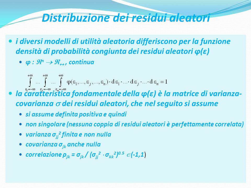 40 Distribuzione dei residui aleatori i diversi modelli di utilità aleatoria differiscono per la funzione densità di probabilità congiunta dei residui