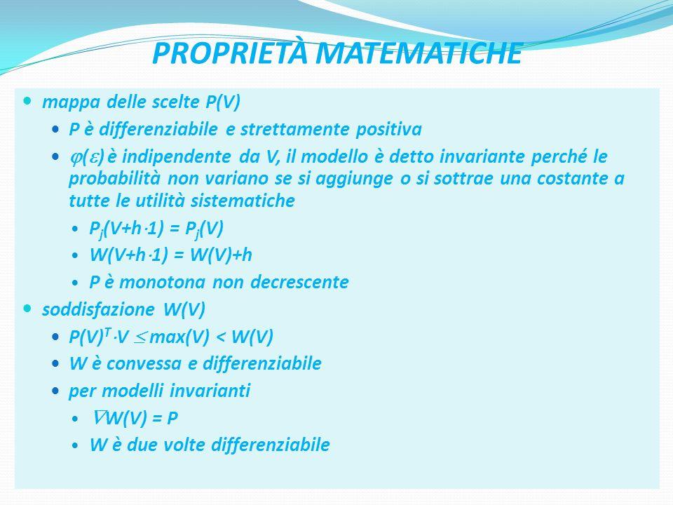 42 PROPRIETÀ MATEMATICHE mappa delle scelte P(V) P è differenziabile e strettamente positiva ( ) è indipendente da V, il modello è detto invariante pe