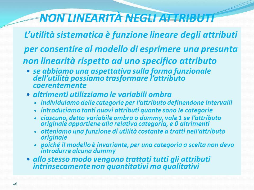 46 NON LINEARITÀ NEGLI ATTRIBUTI Lutilità sistematica è funzione lineare degli attributi per consentire al modello di esprimere una presunta non linea