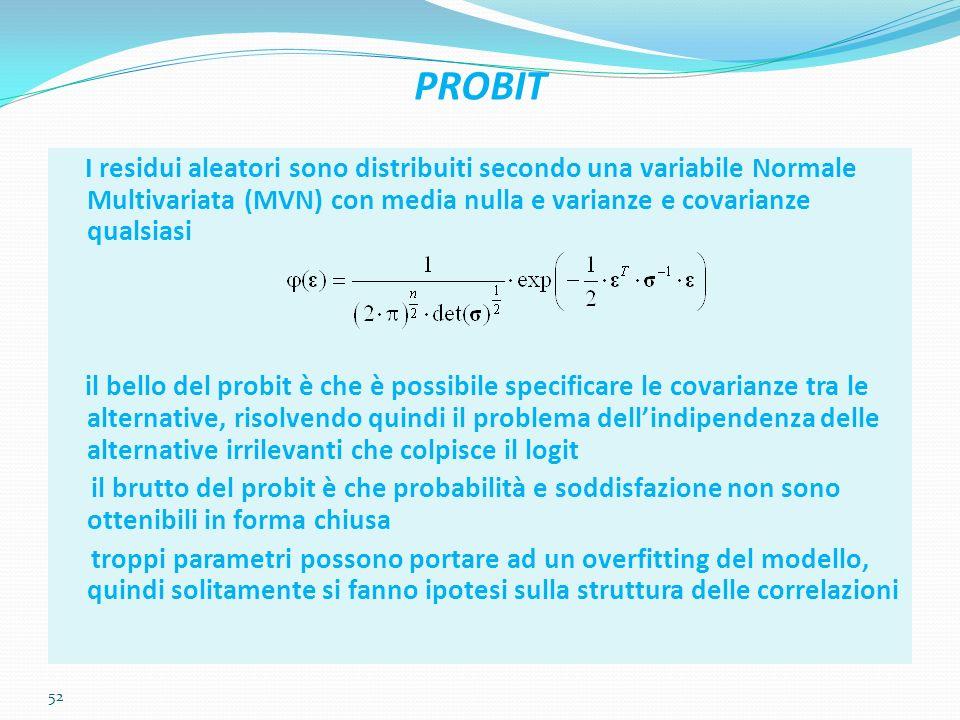 52 PROBIT I residui aleatori sono distribuiti secondo una variabile Normale Multivariata (MVN) con media nulla e varianze e covarianze qualsiasi il be