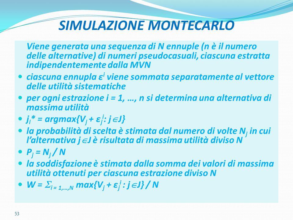 53 SIMULAZIONE MONTECARLO Viene generata una sequenza di N ennuple (n è il numero delle alternative) di numeri pseudocasuali, ciascuna estratta indipe