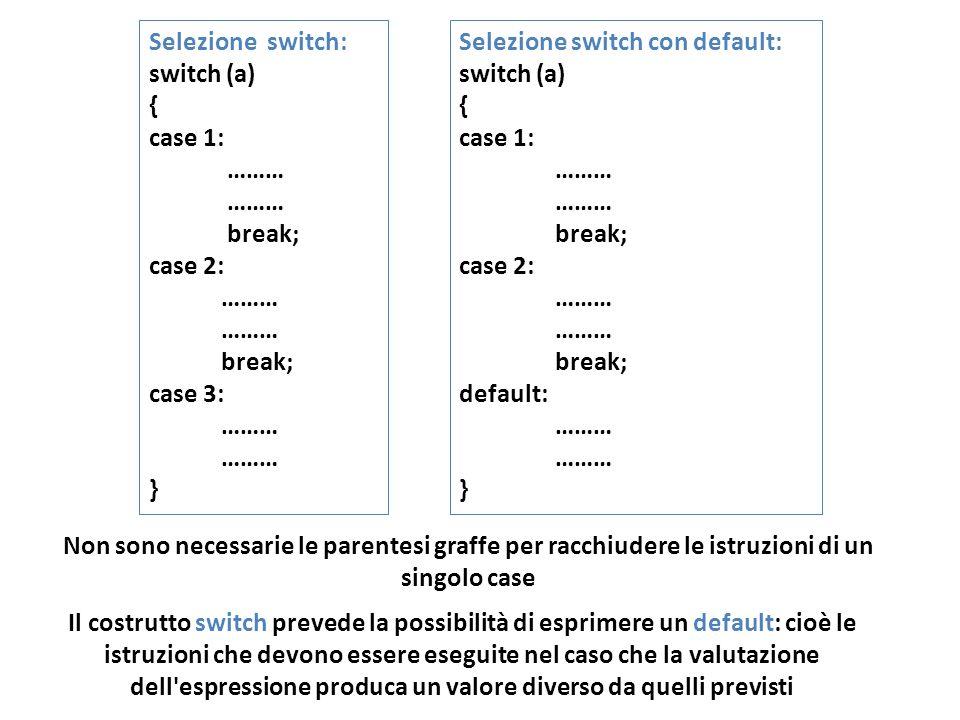 Selezione switch: switch (a) { case 1: ……… break; case 2: ……… break; case 3: ……… } Selezione switch con default: switch (a) { case 1: ……… break; case