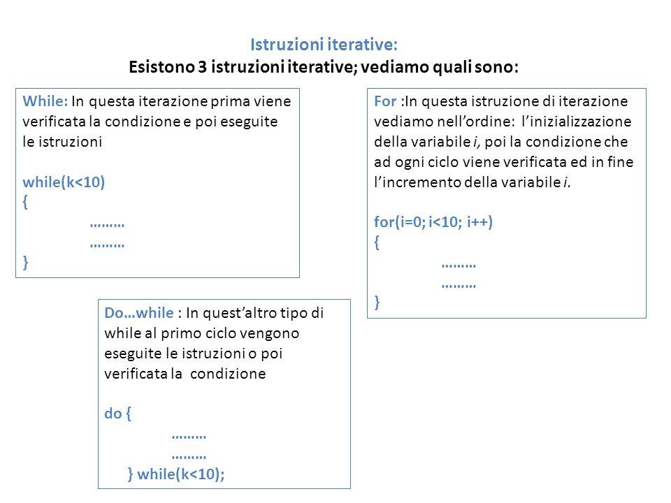 Istruzioni iterative: Esistono 3 istruzioni iterative; vediamo quali sono: While: In questa iterazione prima viene verificata la condizione e poi eseg
