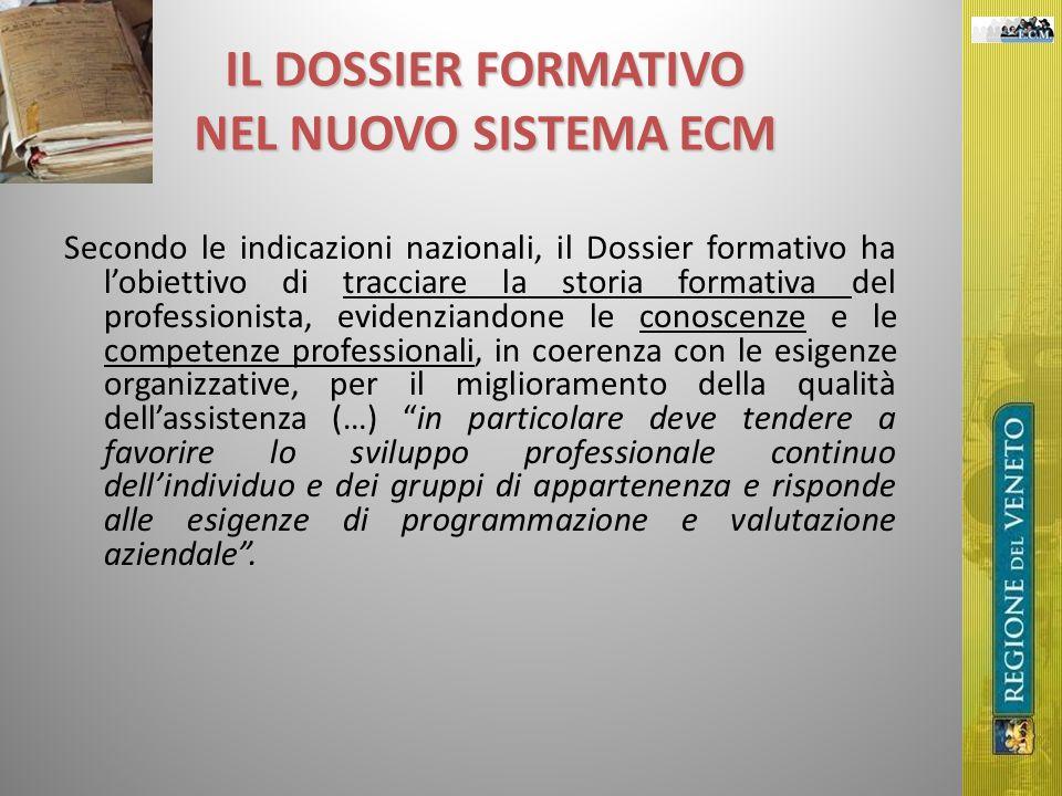 IL DOSSIER FORMATIVO NEL NUOVO SISTEMA ECM Secondo le indicazioni nazionali, il Dossier formativo ha lobiettivo di tracciare la storia formativa del p