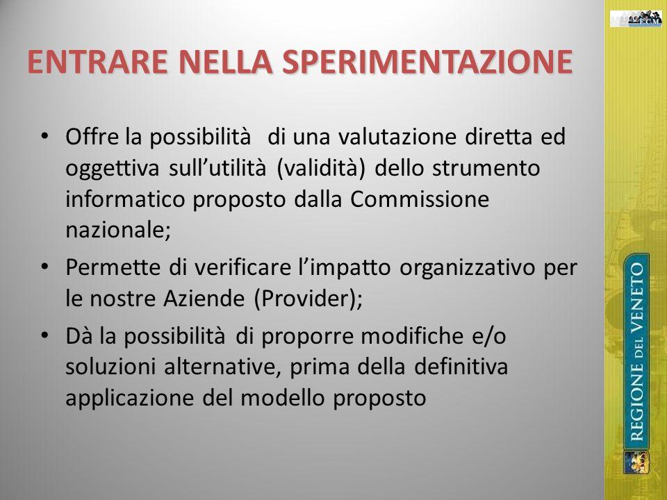ENTRARE NELLA SPERIMENTAZIONE Offre la possibilità di una valutazione diretta ed oggettiva sullutilità (validità) dello strumento informatico proposto
