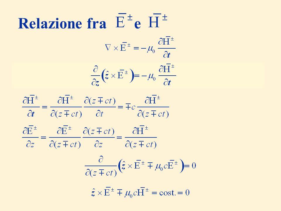 (il campo considerato non dipende da x e y) Relazione fra e