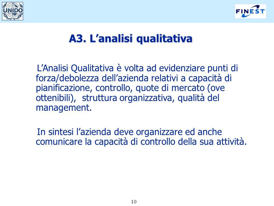 10 A3. Lanalisi qualitativa LAnalisi Qualitativa è volta ad evidenziare punti di forza/debolezza dellazienda relativi a capacità di pianificazione, co