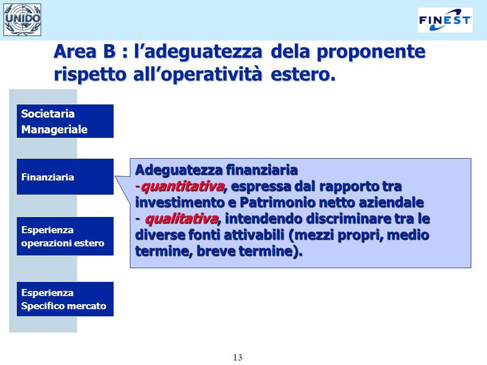 13 Societaria Manageriale Finanziaria Esperienza Specifico mercato Esperienza operazioni estero Adeguatezza finanziaria -quantitativa, espressa dal ra