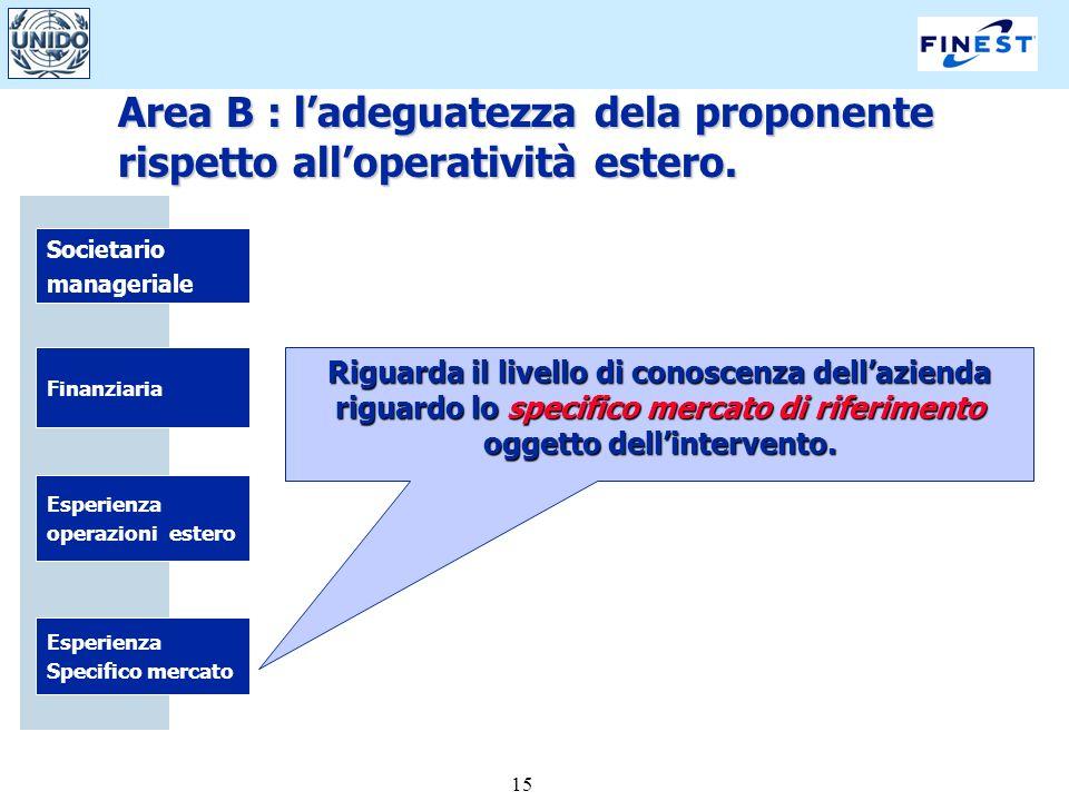 15 Societario manageriale Finanziaria Esperienza Specifico mercato Esperienza operazioni estero Riguarda il livello di conoscenza dellazienda riguardo lo specifico mercato di riferimento oggetto dellintervento.