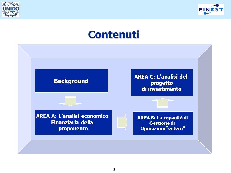 3 Background AREA A: Lanalisi economico Finanziaria della proponente AREA B: La capacità di Gestione di Operazioni estero Contenuti AREA C: Lanalisi d
