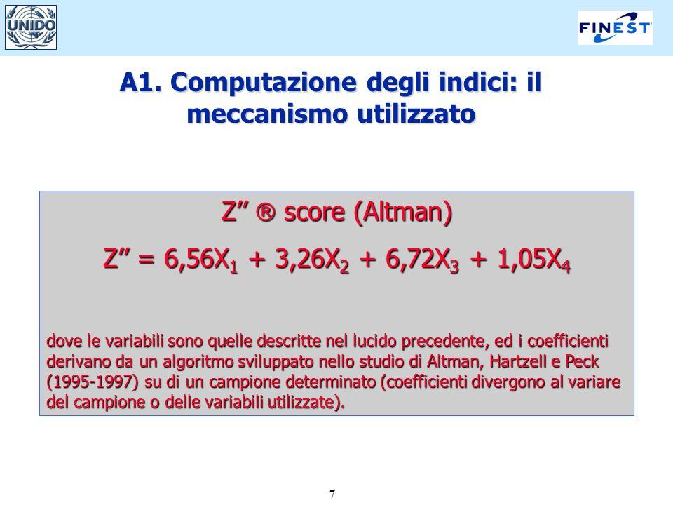 7 A1. Computazione degli indici: il meccanismo utilizzato Z score (Altman) Z = 6,56X 1 + 3,26X 2 + 6,72X 3 + 1,05X 4 dove le variabili sono quelle des