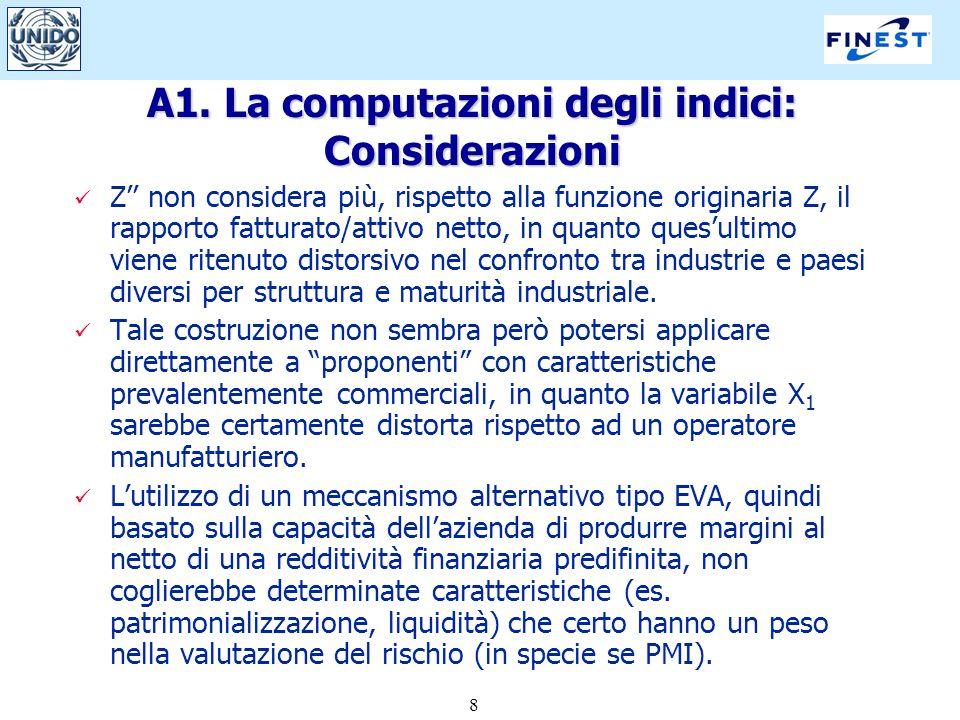 8 A1. La computazioni degli indici: Considerazioni Z non considera più, rispetto alla funzione originaria Z, il rapporto fatturato/attivo netto, in qu