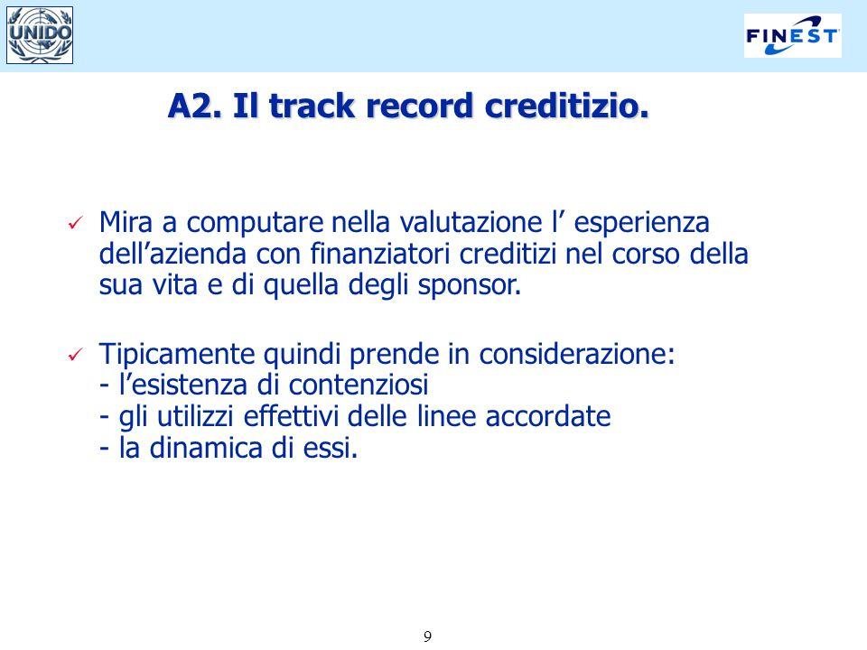 9 A2. Il track record creditizio. Mira a computare nella valutazione l esperienza dellazienda con finanziatori creditizi nel corso della sua vita e di