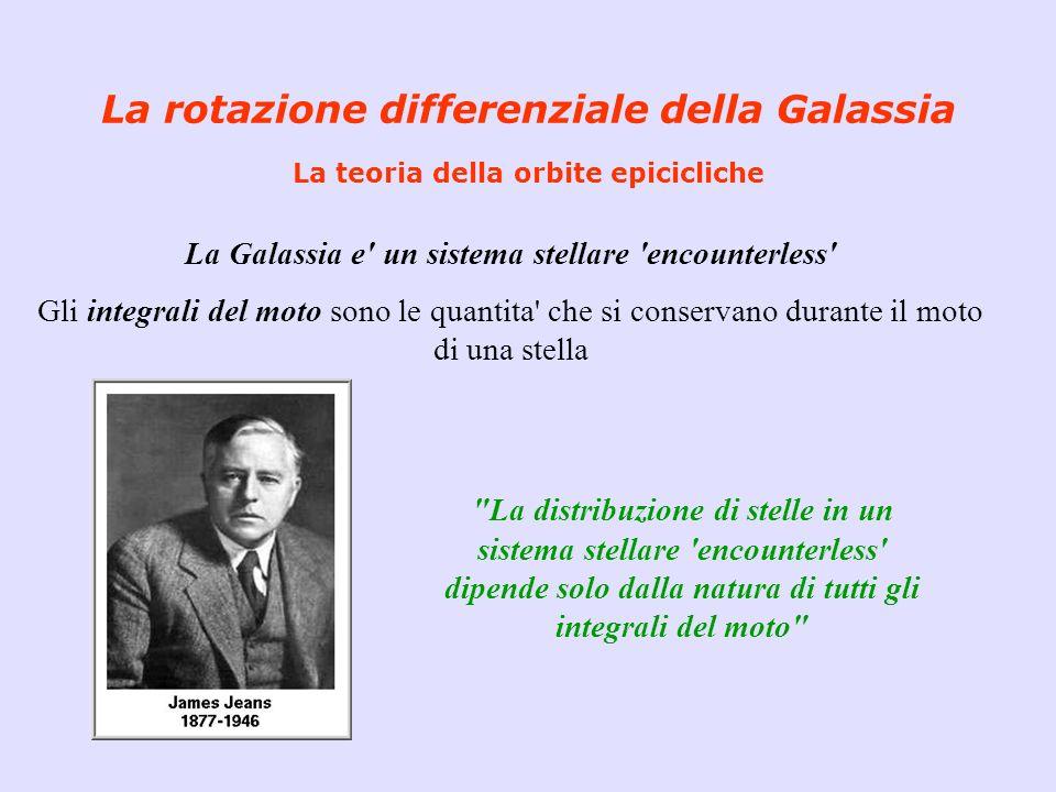 La rotazione differenziale della Galassia La teoria della orbite epicicliche La Galassia e' un sistema stellare 'encounterless' Gli integrali del moto