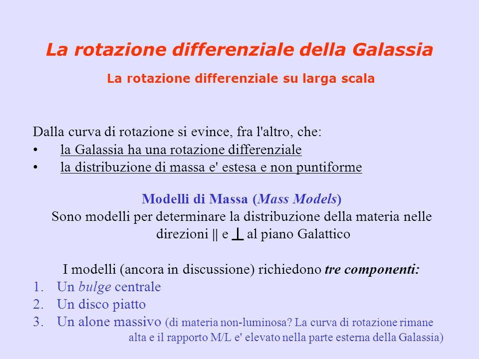 Dalla curva di rotazione si evince, fra l'altro, che: la Galassia ha una rotazione differenziale la distribuzione di massa e' estesa e non puntiforme