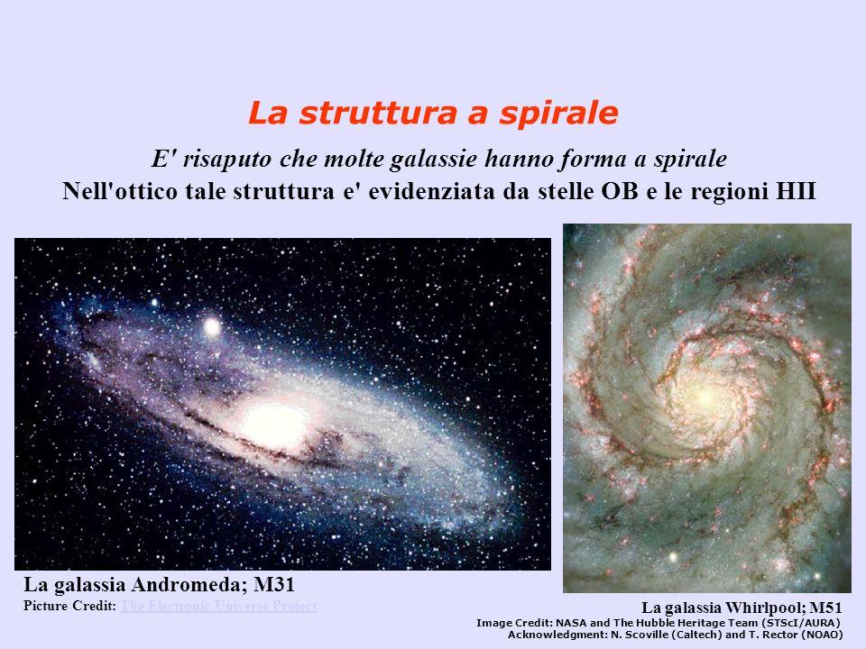 La struttura a spirale E' risaputo che molte galassie hanno forma a spirale Nell'ottico tale struttura e' evidenziata da stelle OB e le regioni HII La