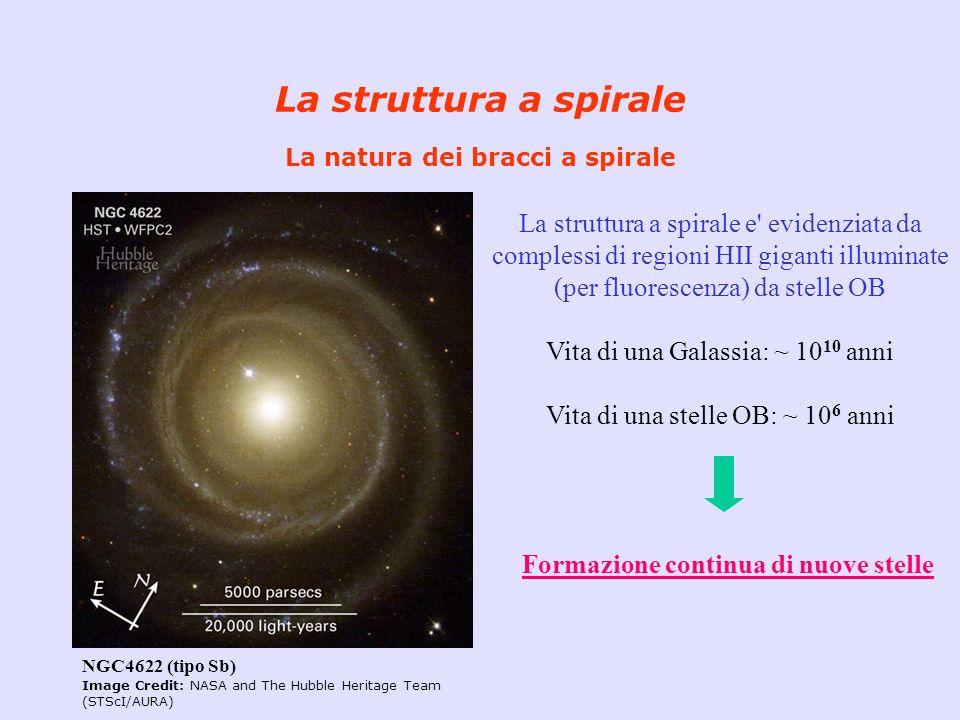 La struttura a spirale La natura dei bracci a spirale NGC4622 (tipo Sb) Image Credit: NASA and The Hubble Heritage Team (STScI/AURA) La struttura a sp
