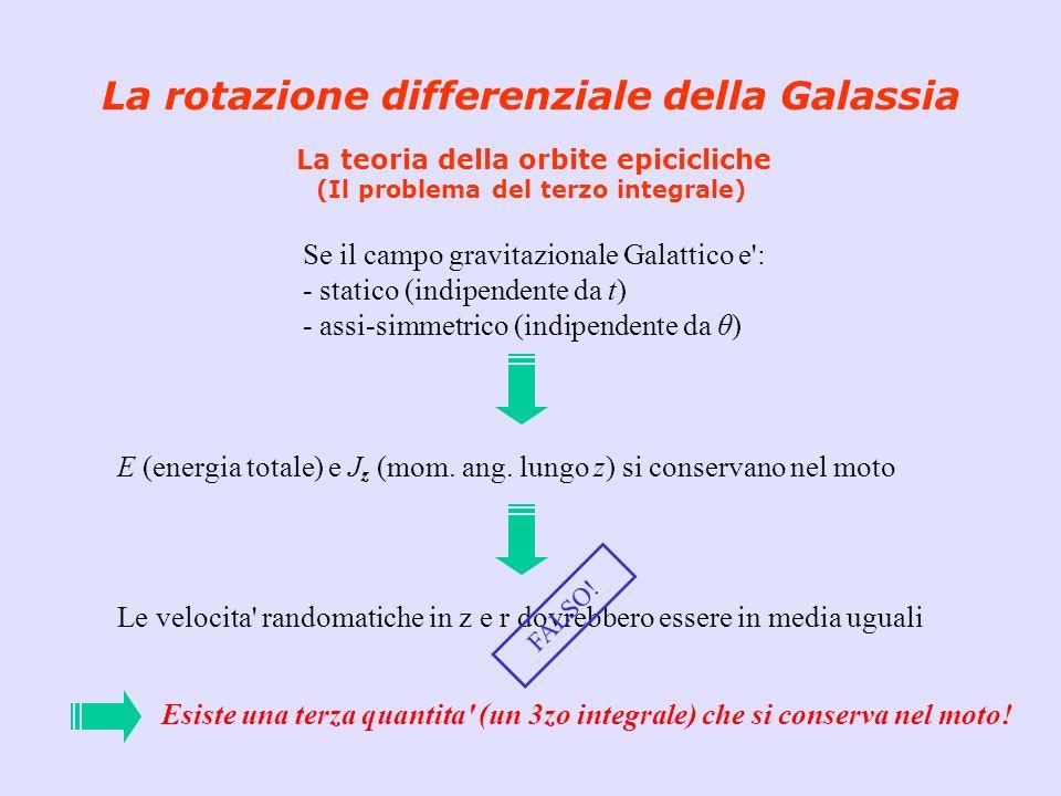 La rotazione differenziale della Galassia La teoria della orbite epicicliche (Il problema del terzo integrale) Se il campo gravitazionale Galattico e'