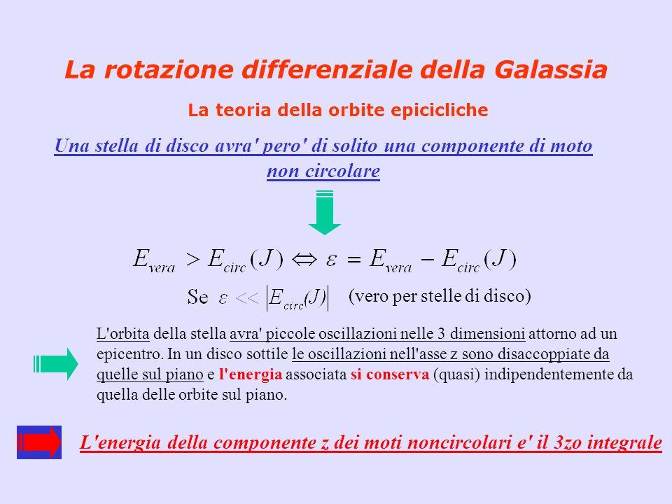 La rotazione differenziale della Galassia La teoria della orbite epicicliche Le oscillazioni nelle direzioni r e θ avvengono con frequenza epiciclica κ Per un osservatore inerziale: se κ = Ω -> orbita chiusa (Newton) se κ = Ω -> orbita a rosetta Per un osservatore che ruota con l epicentro: - La stella descrive un ellisse retrograda - Il rapporto fra i due assi dell ellisse= κ/2 Ω κ e Ω possono essere calcolati in funzione delle costanti di Ooort A e B (se il rapporto e = 1 -> l ellisse e un cerchio) + Centro Galattico Ω κ epicenter La differenza fra le velocita di dispersione nelle direzioni r e θ hanno indicato a Lindblad che la rotazione Galattica e differenziale