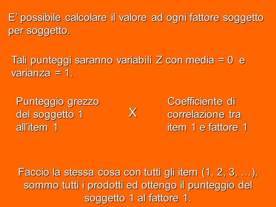 E possibile calcolare il valore ad ogni fattore soggetto per soggetto.