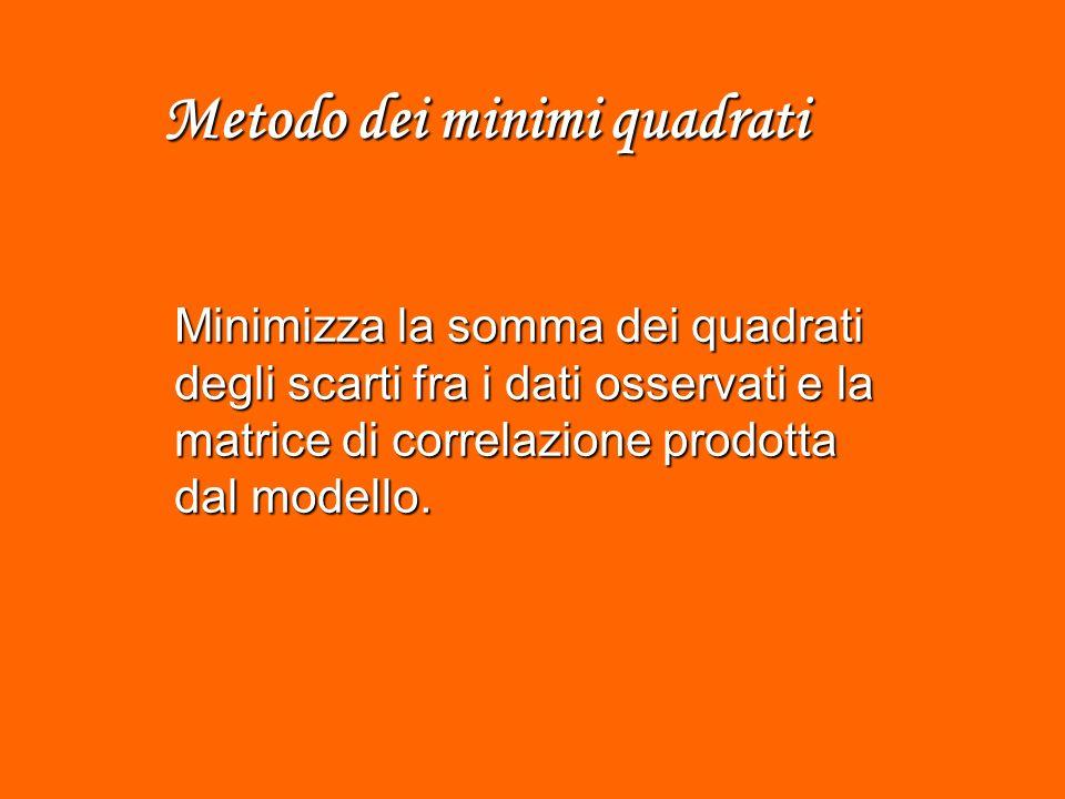 Metodo dei minimi quadrati Minimizza la somma dei quadrati degli scarti fra i dati osservati e la matrice di correlazione prodotta dal modello.