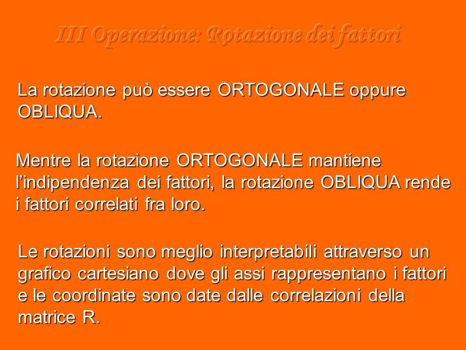 Mentre la rotazione ORTOGONALE mantiene lindipendenza dei fattori, la rotazione OBLIQUA rende i fattori correlati fra loro.