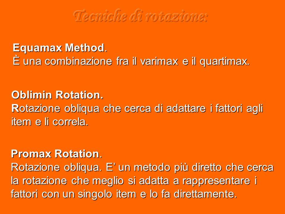 Equamax Method. È una combinazione fra il varimax e il quartimax.