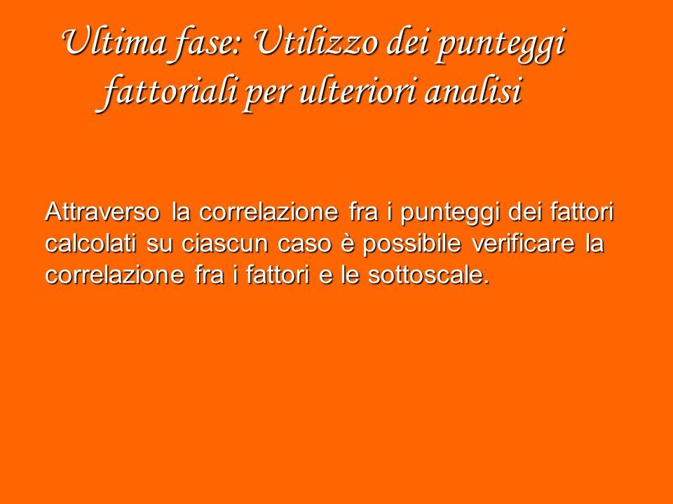 Ultima fase: Utilizzo dei punteggi fattoriali per ulteriori analisi Attraverso la correlazione fra i punteggi dei fattori calcolati su ciascun caso è possibile verificare la correlazione fra i fattori e le sottoscale.
