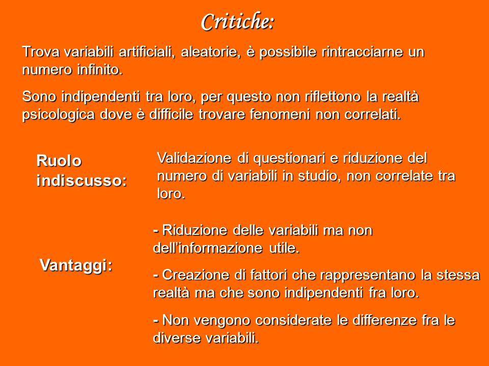 Ruolo indiscusso: Vantaggi: Critiche: - Riduzione delle variabili ma non dellinformazione utile.