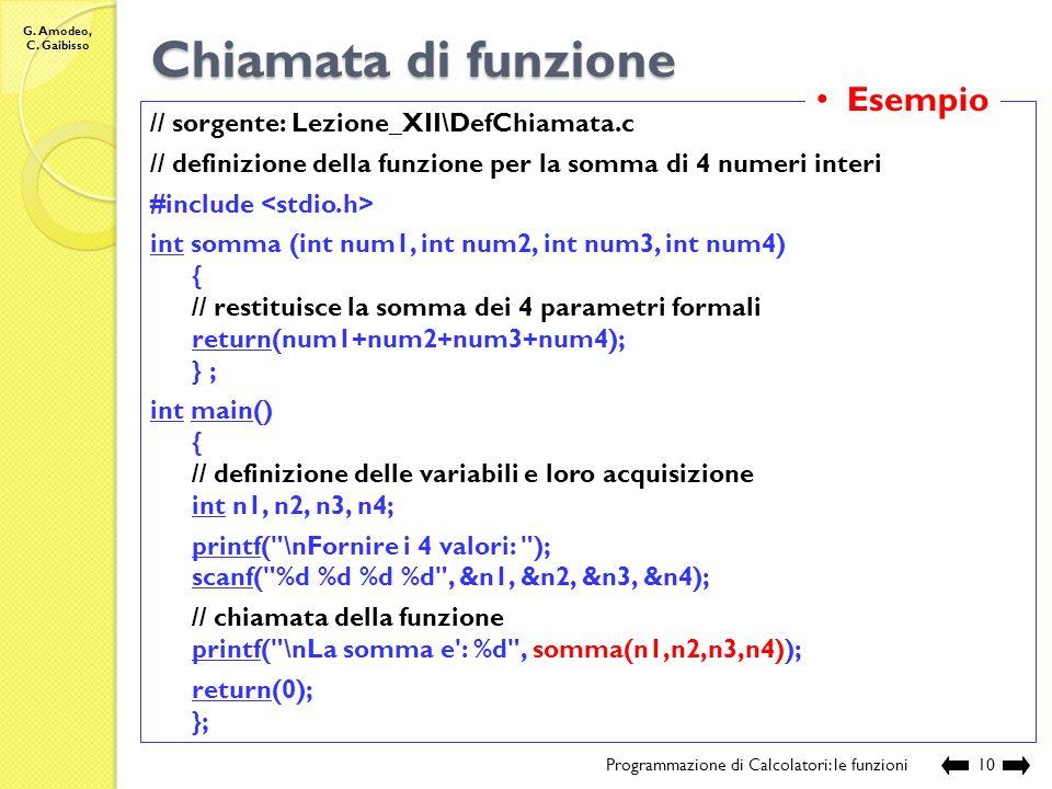 G. Amodeo, C. Gaibisso Chiamata di funzione Programmazione di Calcolatori: gli operatori9 Funzioni che calcolano un valore: nome_variabile = nome F (e