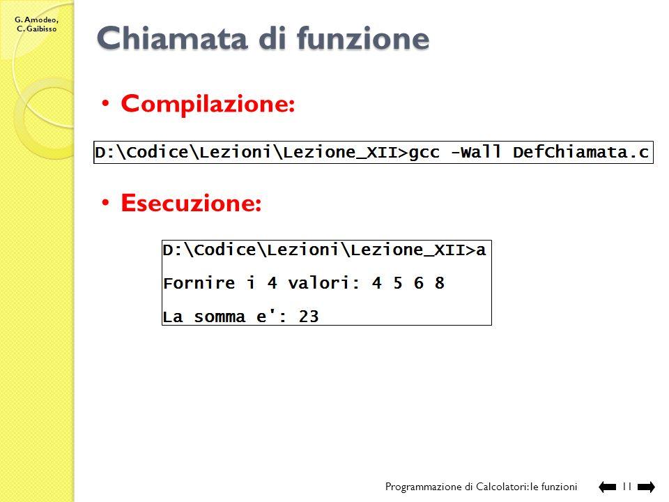 G. Amodeo, C. Gaibisso Chiamata di funzione Programmazione di Calcolatori: le funzioni10 // sorgente: Lezione_XII\DefChiamata.c // definizione della f