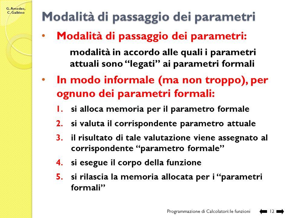 G. Amodeo, C. Gaibisso Chiamata di funzione Programmazione di Calcolatori: le funzioni11 Compilazione: Esecuzione: