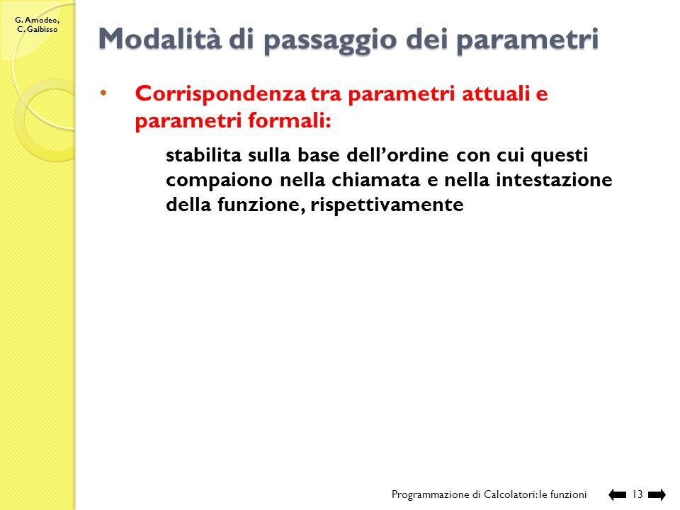 G. Amodeo, C. Gaibisso Modalità di passaggio dei parametri Programmazione di Calcolatori: le funzioni12 Modalità di passaggio dei parametri: modalità