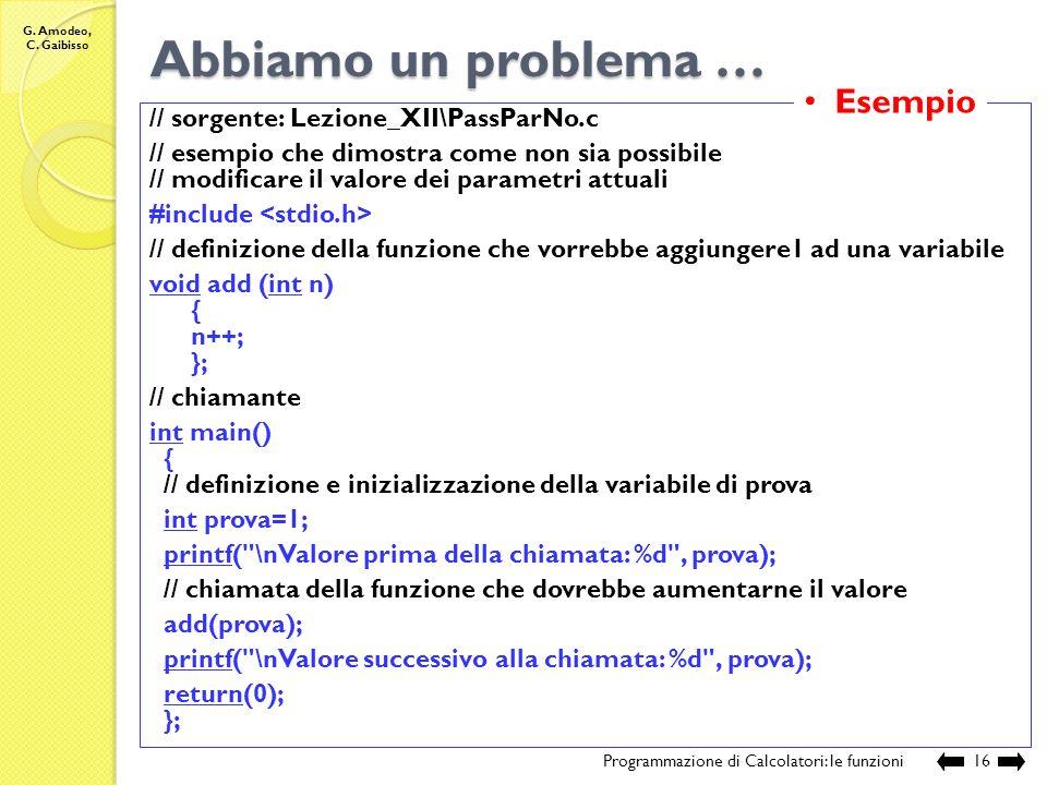 G. Amodeo, C. Gaibisso Modalità di passaggio dei parametri Programmazione di Calcolatori: le funzioni15 2834 2835 2836 2837 2838 2839 2840 2841 2842 2